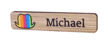 Printed wooden name badges - Real wood name badge with printed logo and text | www.namebadgesinternational.co.uk